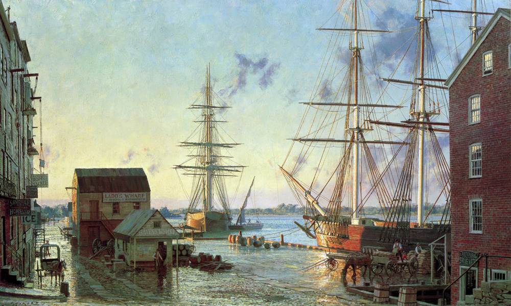 John Stobart - Portsmouth: Merchant's Row Overlooking New Hampshire's Piscataqua River in 1828