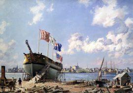 "John Stobart - Portsmouth: Preparing To Launch John Paul Jones' Sloop of ""War Ranger"", May 1777"