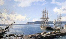 John Stobart - San Diego: A View of Point Loma from Santa Fe Wharf