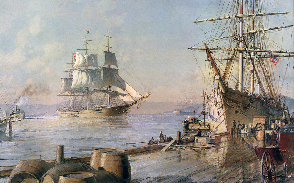 "John Stobart - San Francisco: The ""Flying Cloud"" Entering Port After Her Record Passage from New York in 1851"