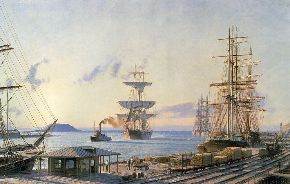 "John Stobart - San Pedro: The Bark ""Vidette"" Towing Into Port at Sunrise"