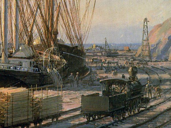 "John Stobart - San Pedro: The Bark ""Vidette"" Towing Into Port at Sunrise"