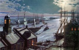John Stobart - Savannah: A Moonlight Departure, Viewed from Factor's Walk
