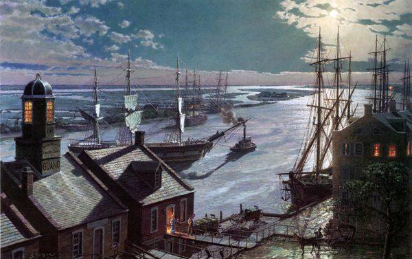 John Stobart - Savannah: A Moonlight Departure, Viewed from Factor's Walk