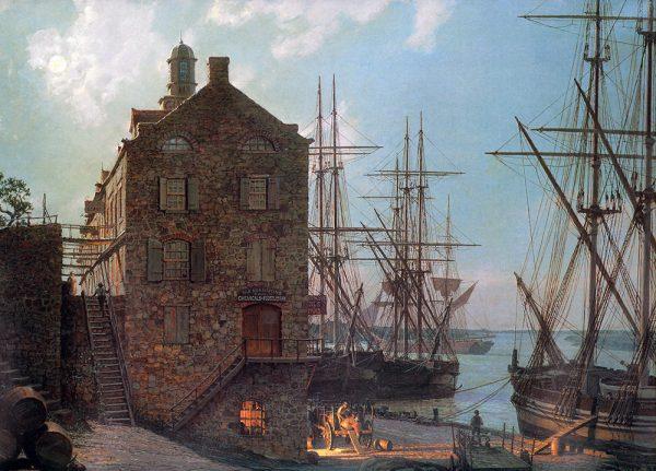 John Stobart - Savannah: River Street by Moonlight in 1842