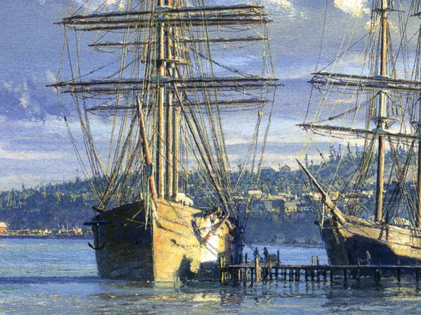John Stobart - Seattle: A View Looking North from Yesler's Wharf c. 1880