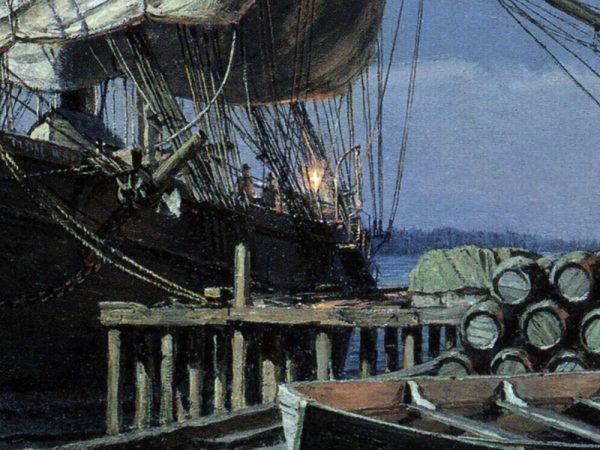 John Stobart - Seattle: Mill Street by Moonlight in 1884