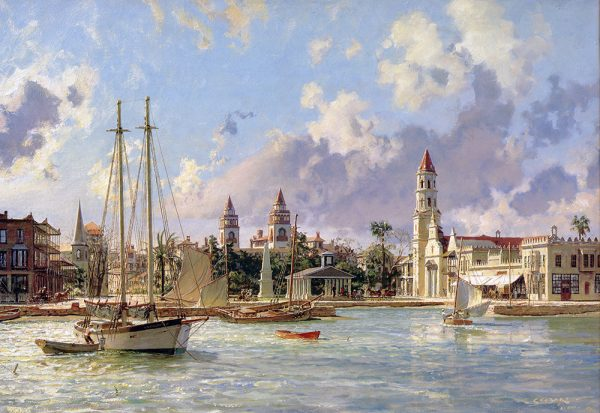 John Stobart - St. Augustine: A View of the Plaza and the Ponce de Leon Hotel