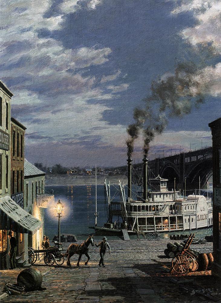 John Stobart - St. Louis: Laclede's Landing c. 1885