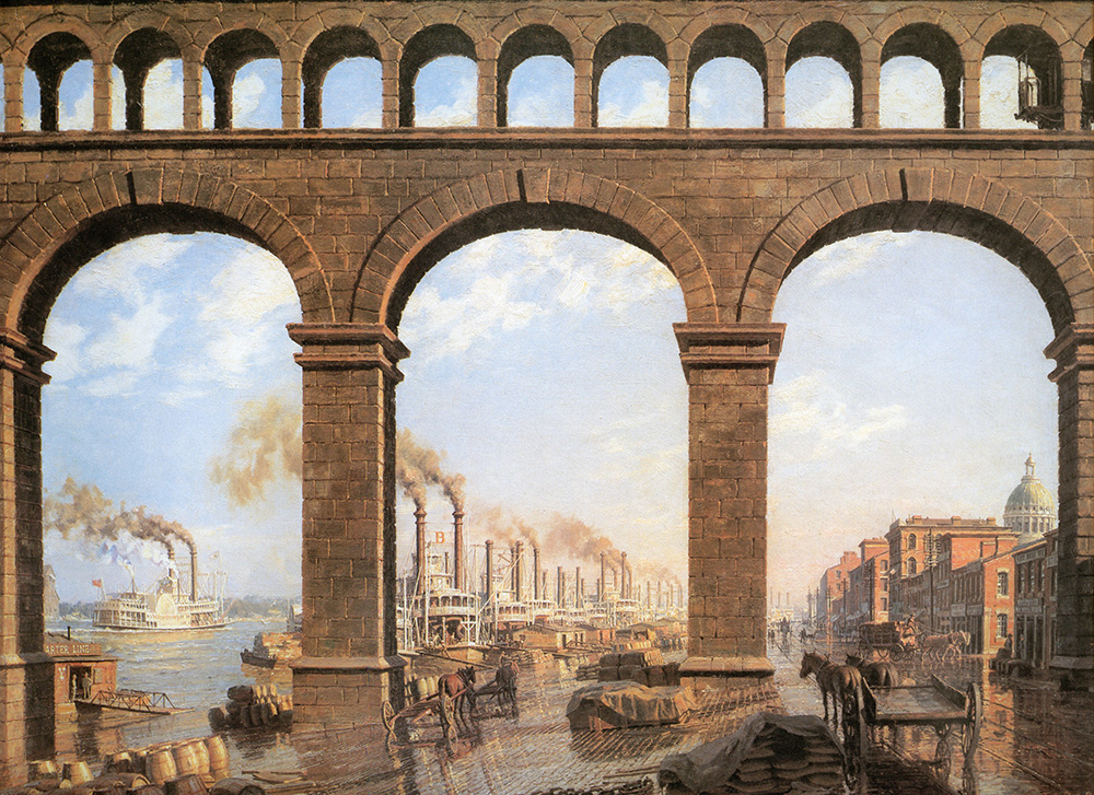 John Stobart - St. Louis: View Through the Arches of the Eads Bridge