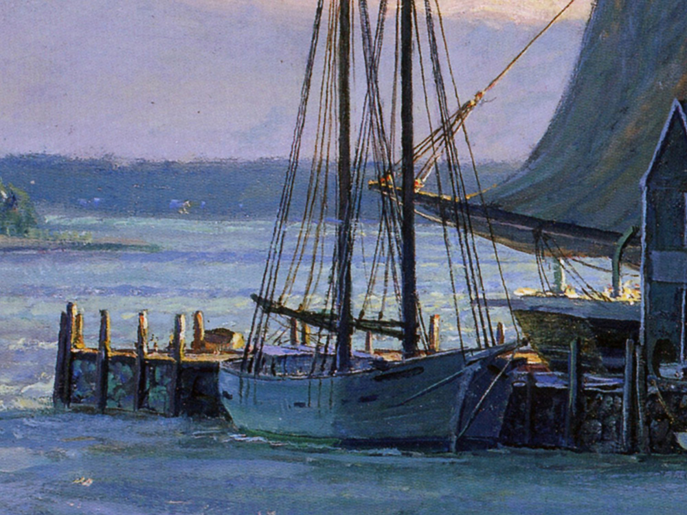 John stobart sunset over the westport river in 1862 for The westport