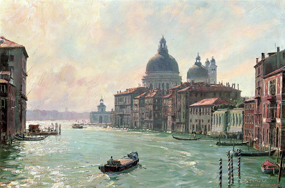 John Stobart - Venice: The Salute from the Accademia Bridge