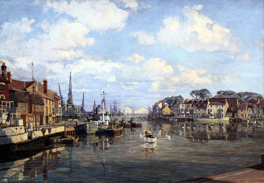 John Stobart - Weymouth Harbour: The Inner Harbour of One of England's Channel Ports in 1954