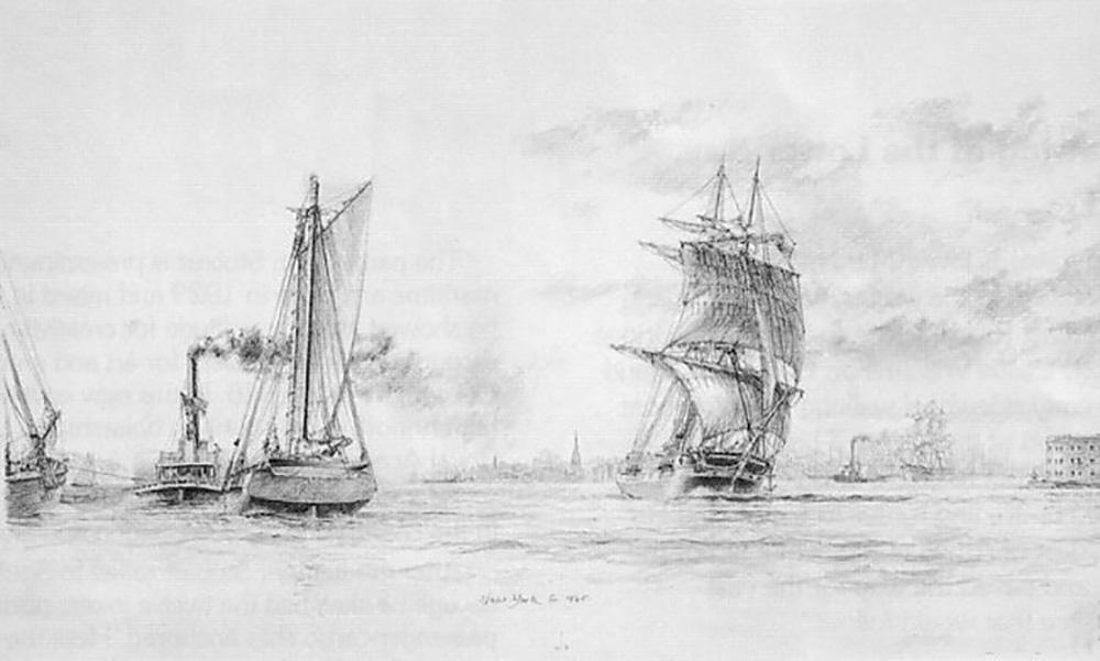 John Stobart - New York: Lower Bay, c.1865
