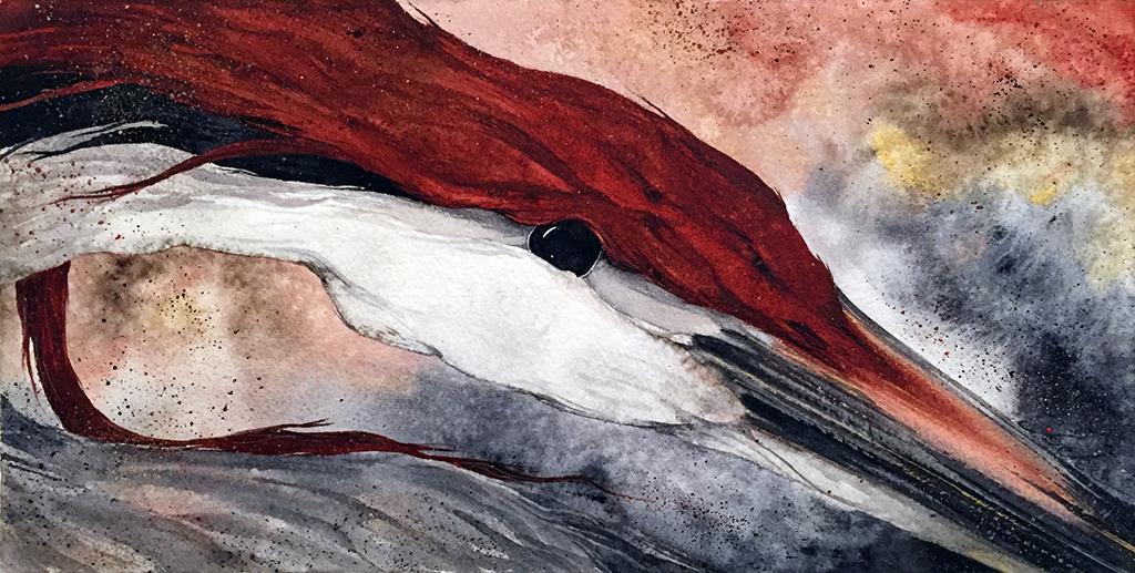 Beki Killorin Original Watercolor - Sand Hill Heron