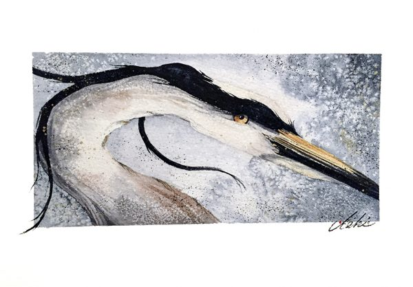 Beki Killorin Original Watercolor Blue Heron #1