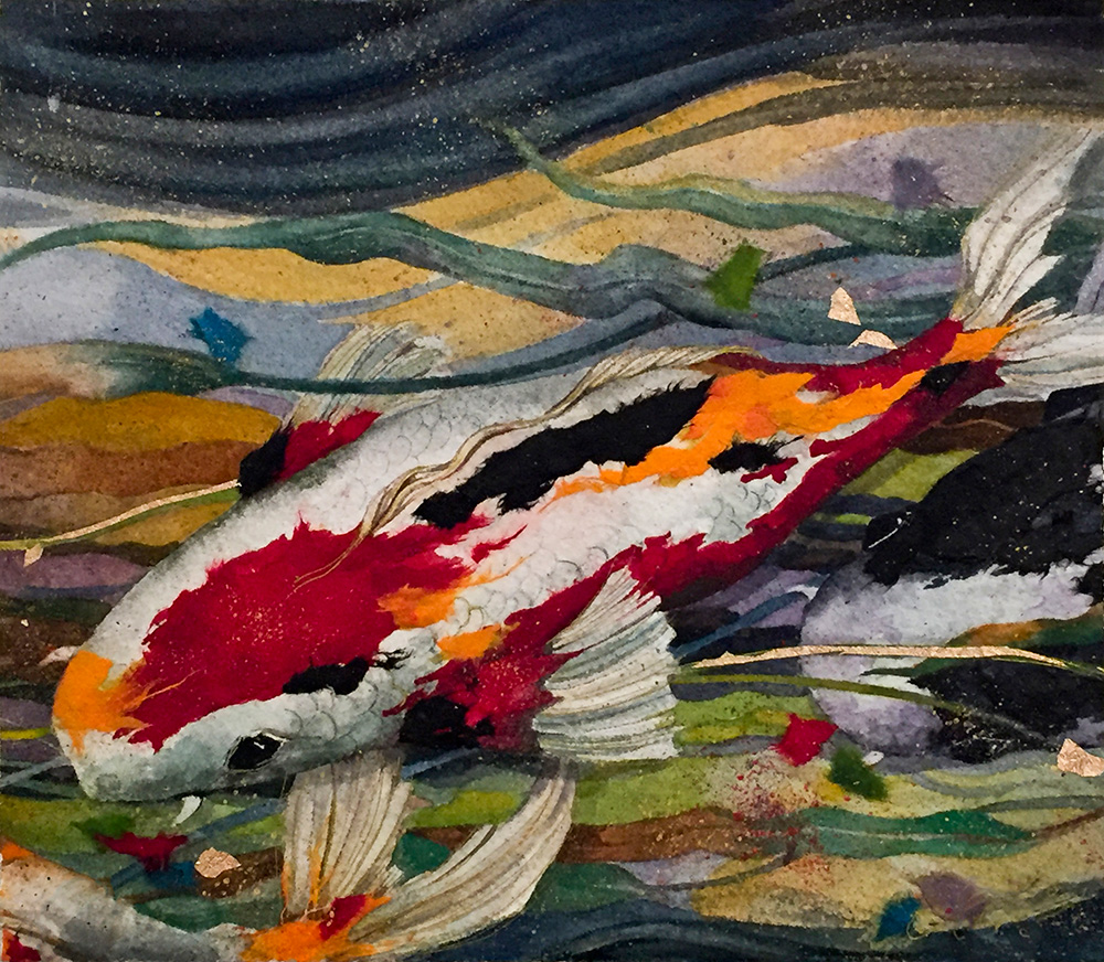 Beki Killorin Original Watercolor - Colorful Koi