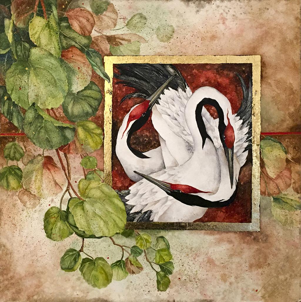 Beki Killorin Original Watercolor - Crane Ballet