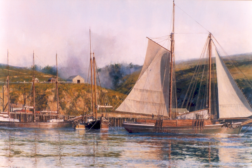 David Thimgan Limited Edition Print - Schooner Sacramento at Albion, California