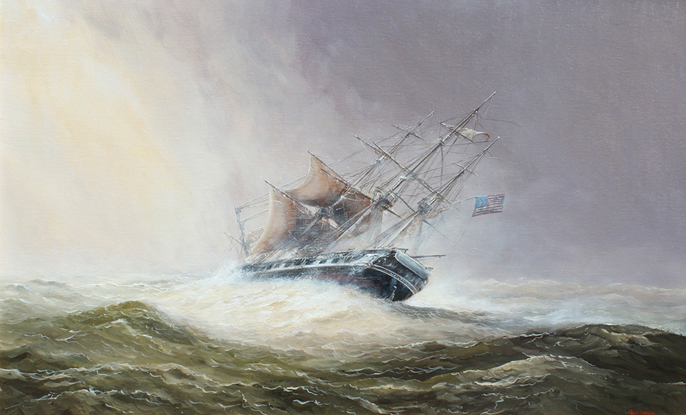 Paul Deacon Original Oil Painting - USS Constitution in Stormy Weather