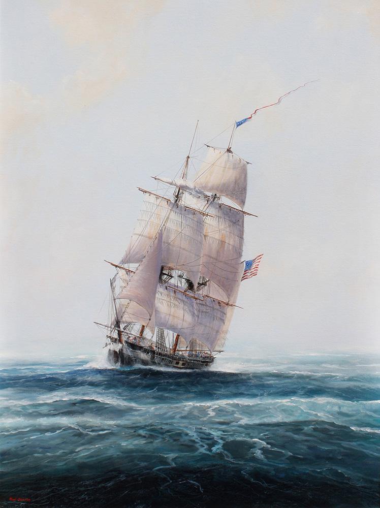 Paul Deacon Original Oil Painting - US Brig 'Argus'