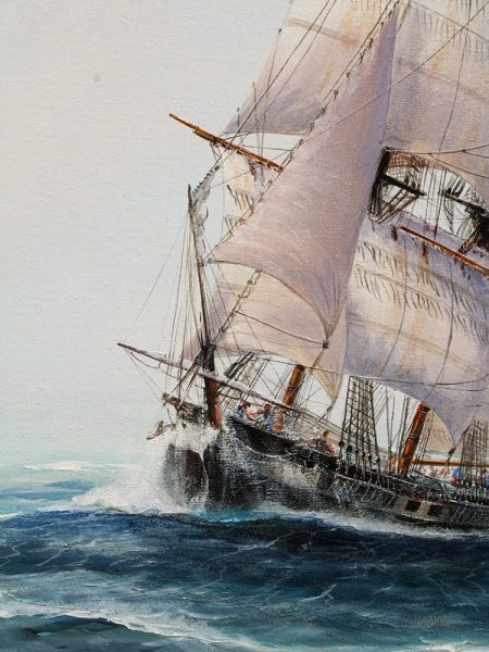 Paul Deacon Original Oil Painting - US Brig 'Argus'