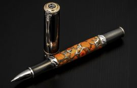 William Henry Cabernet Osage Rollerball Pen - Apple Coral