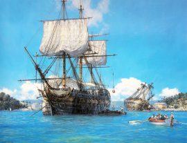 Geoff Hunt - H.M.S. Trusty in English Harbour, Antigua