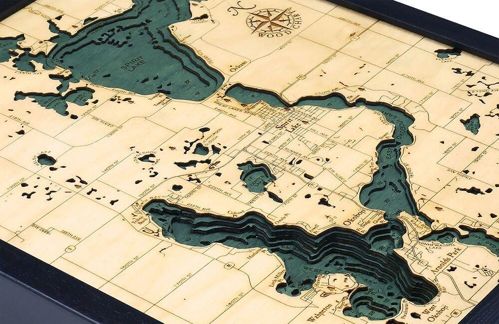 Bathymetric Map Lake Okoboji And Spirit Lake Iowa Scrimshaw Gallery