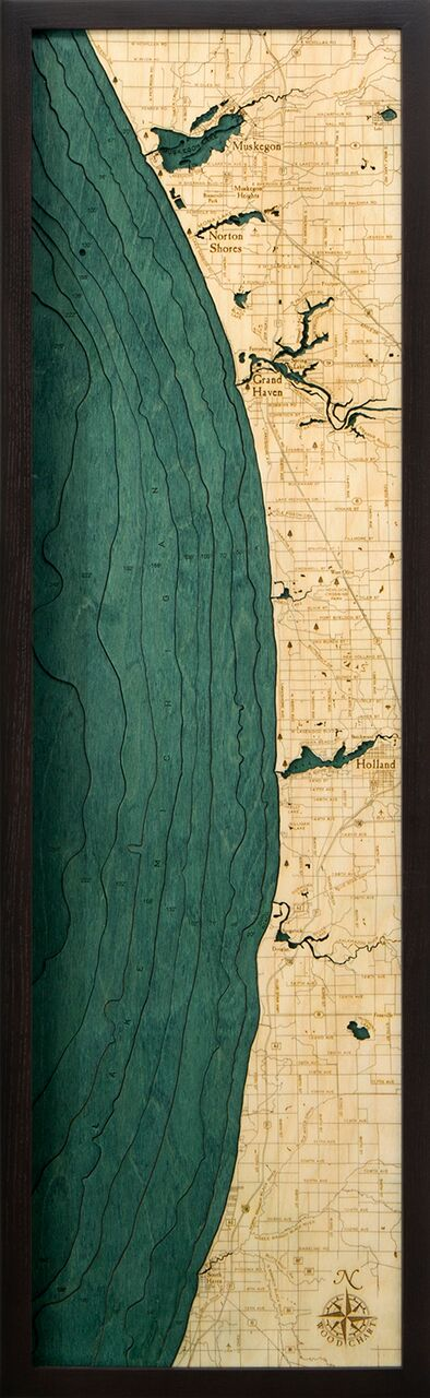 Bathymetric Map Muskegon to South Haven, Michigan