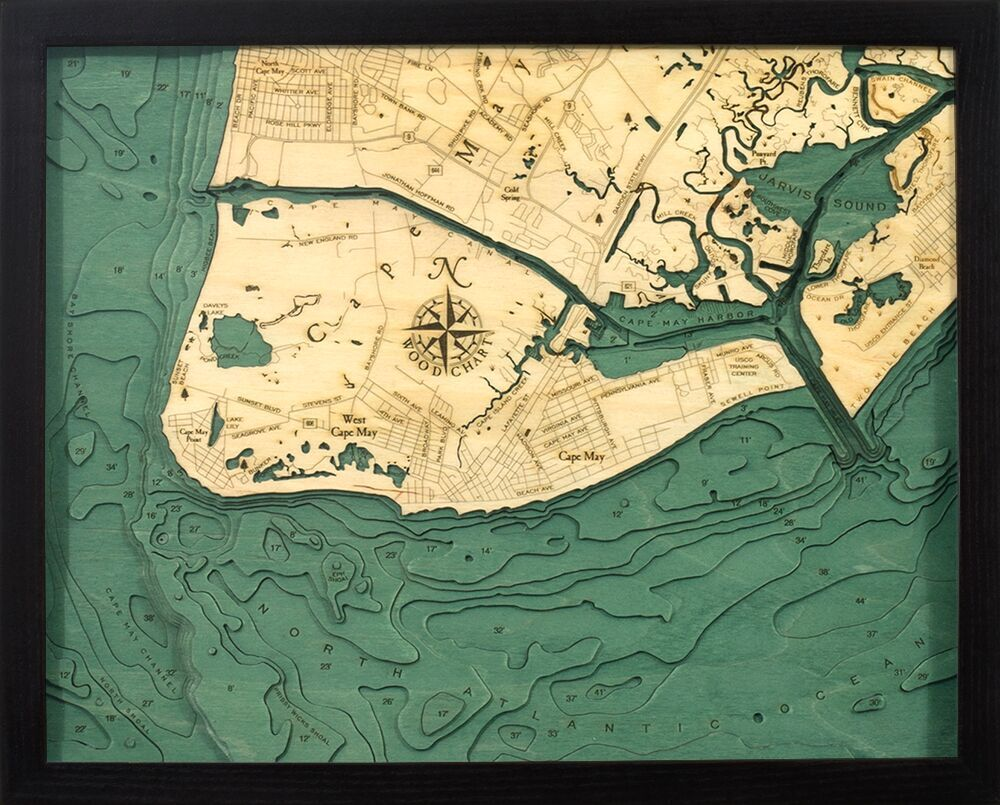 Bathymetric Map Cape May, New Jersey
