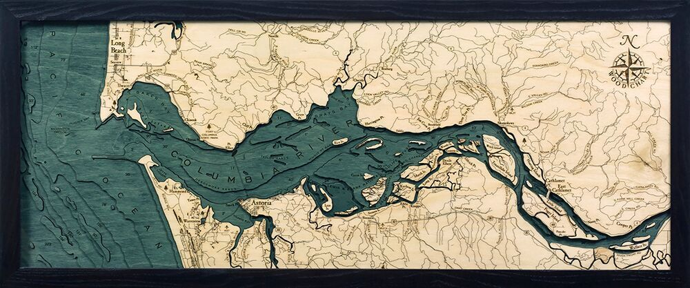 Bathymetric Map Columbia River Mouth, Oregon and Washington