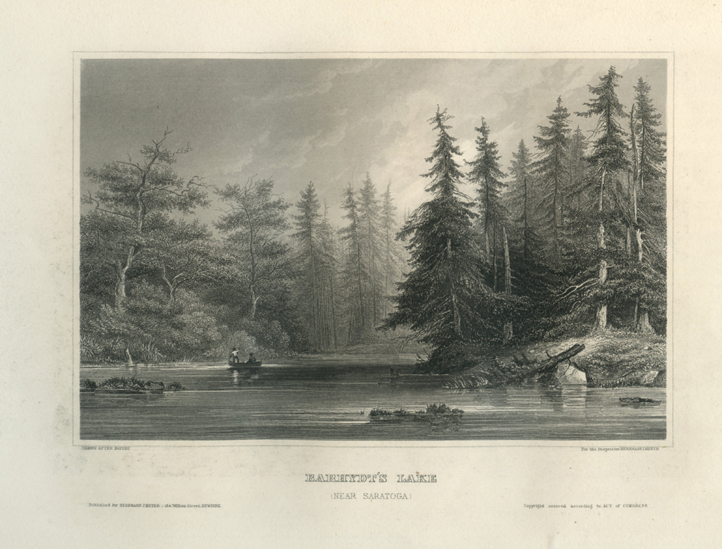Antique Engraving - Darhydt's Lake, Near Saratoga, New York (1856)