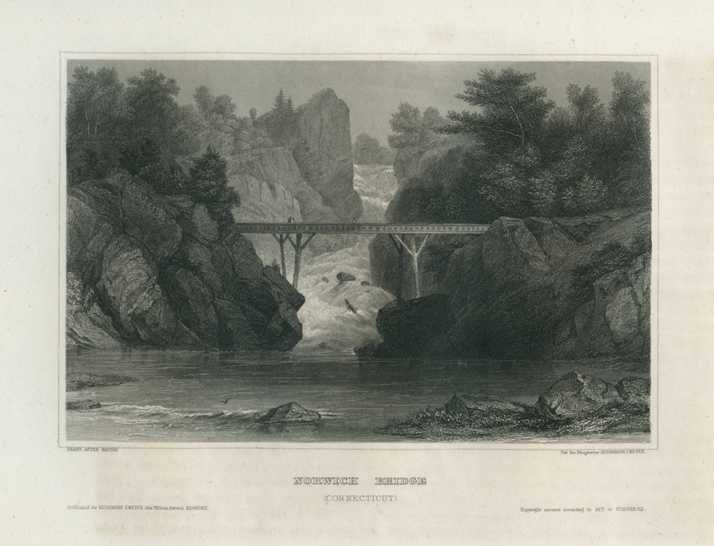 Antique Engraving - Norwich Bridge, Connecticut (1854)