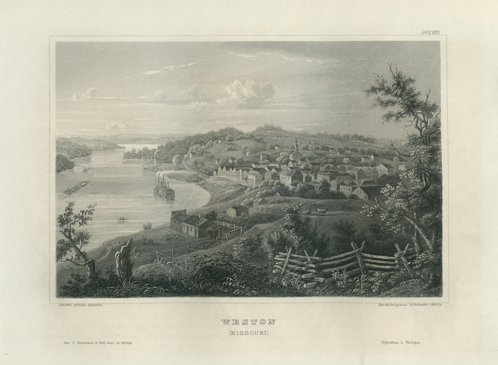 Antique Engraving - Weston, Missouri (1856)