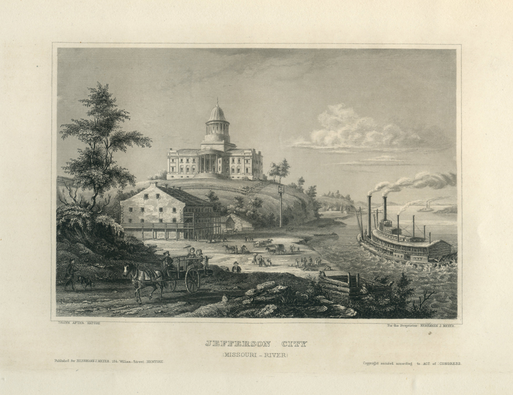Antique Engraving - Jefferson City, Missouri (1852)