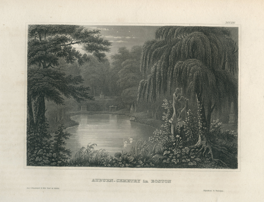 Antique Engraving - Auburn Cemetery in Boston (1852)