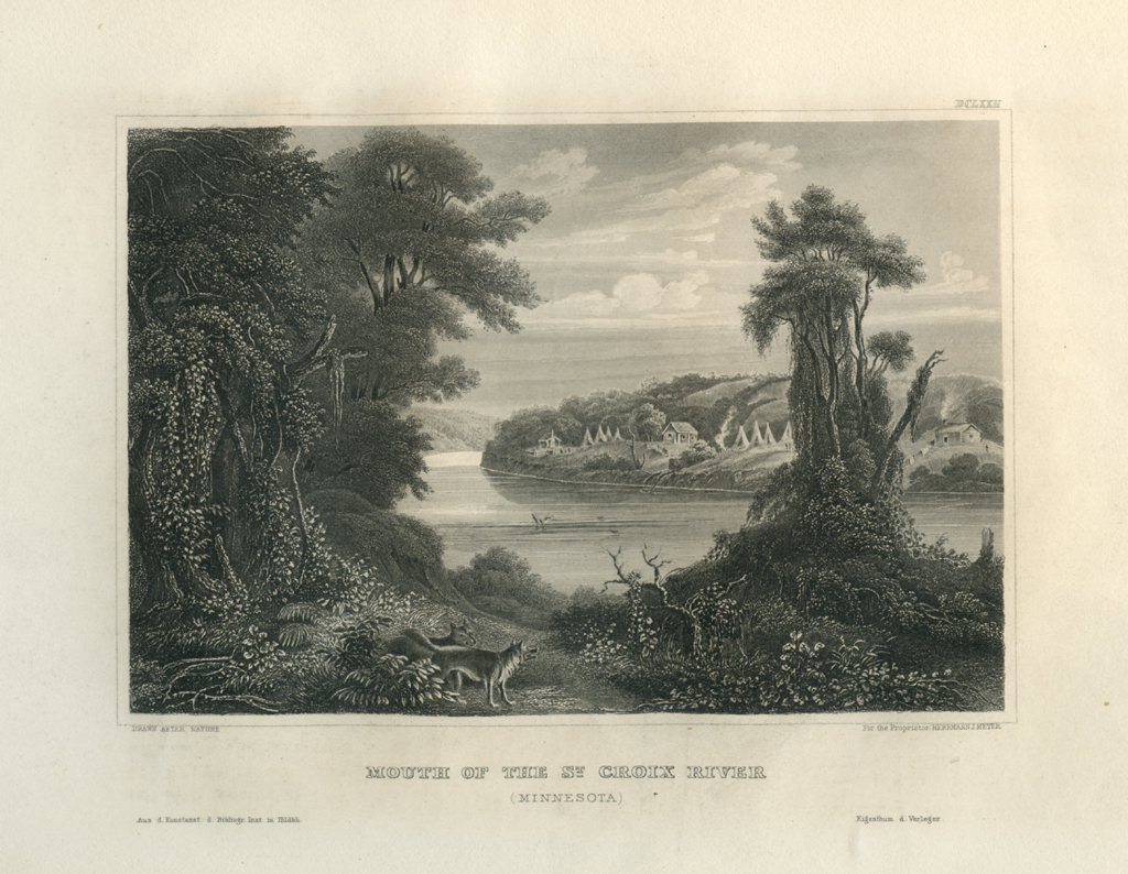 Antique Engraving - Mouth of the St. Croix River, Minnesota (1852)