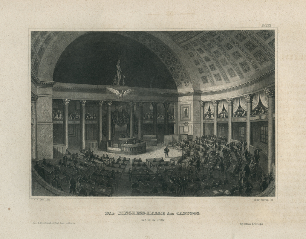 Antique Engraving - The Congress Hall in the Capitol, Washington (1852)