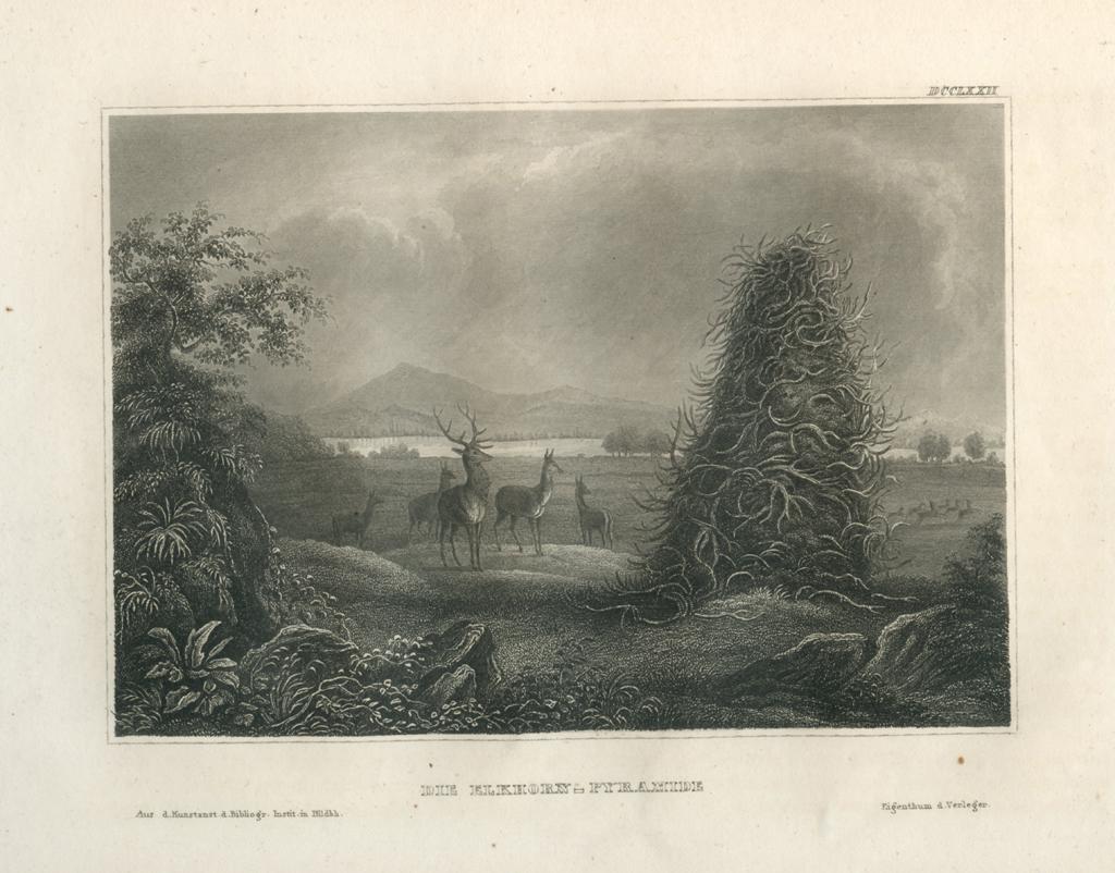 Antique Engraving - The Elkhorn Pyramid, Missouri (1856)