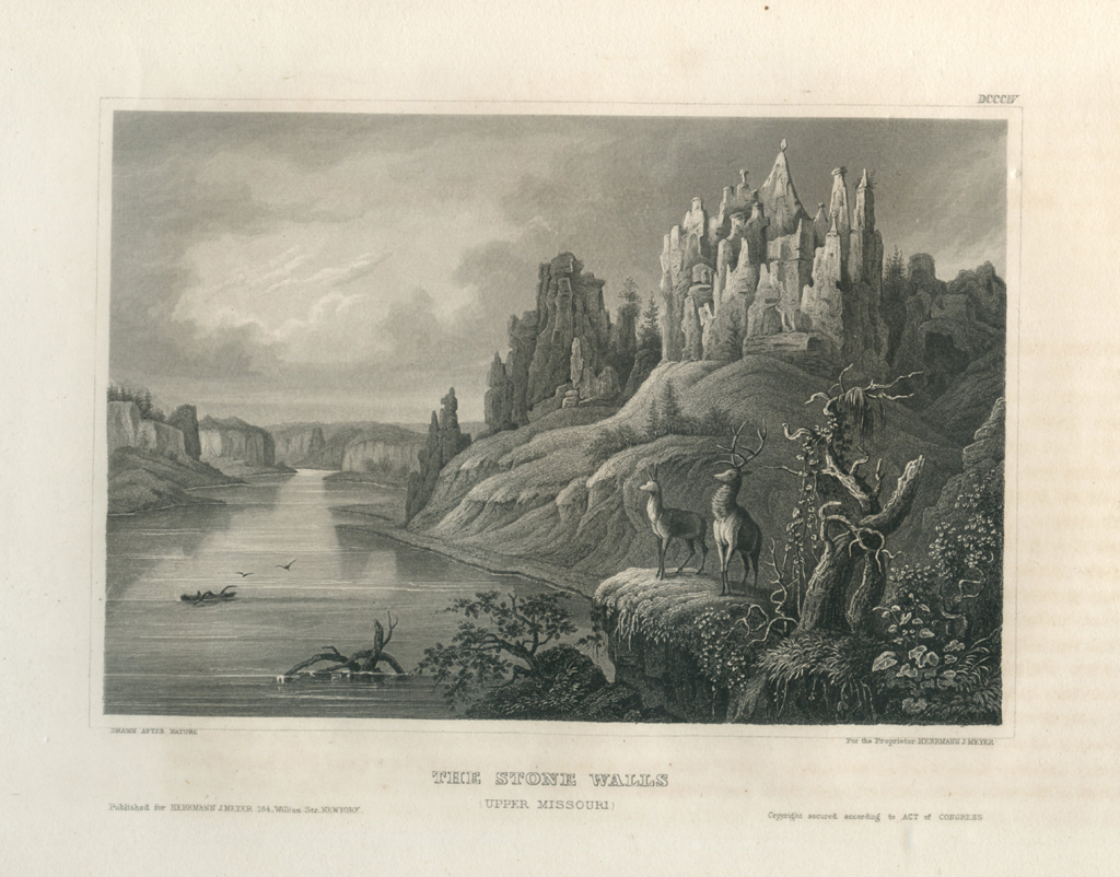 Antique Engraving - The Stone Walls, Upper Missouri (1856)