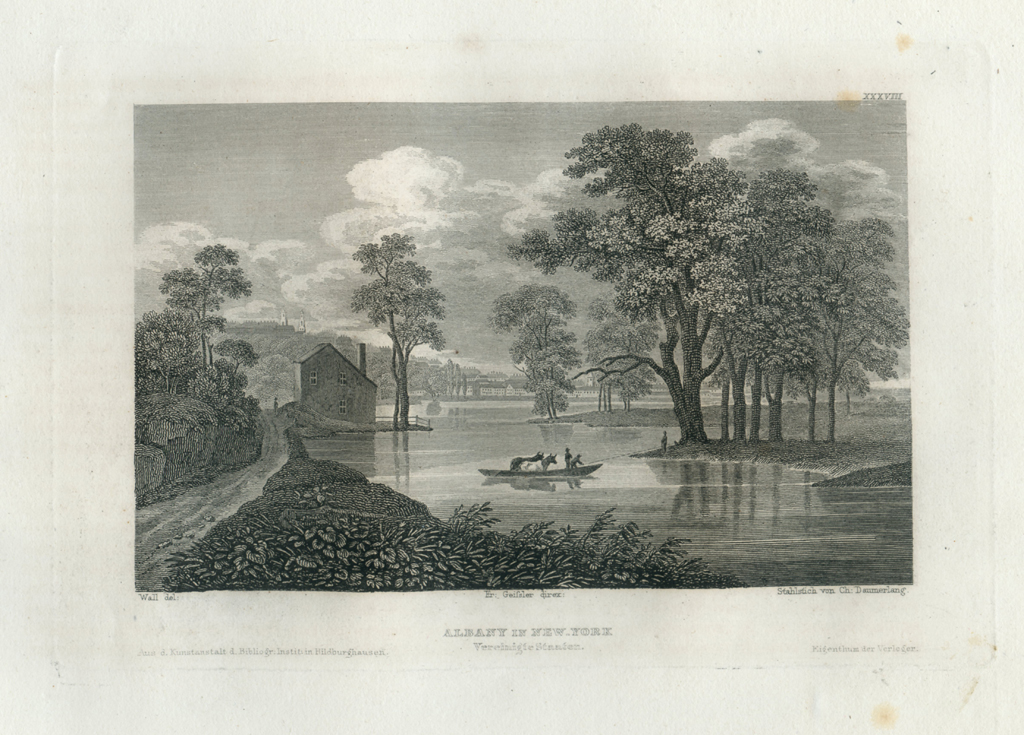 Antique Engraving - Albany in New York (1833)