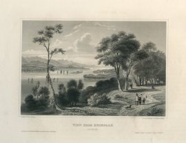 Antique Engraving - View From Hydepark, New York (1854)