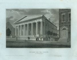 Antique Engraving - The Bank of the United States, Philadelphia (1835)