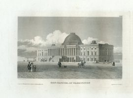 Antique Engraving - The Capitol in Washington (1833)