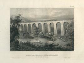 Antique Engraving - Starrucca Viaduct, Erie Railway, New York (1852)