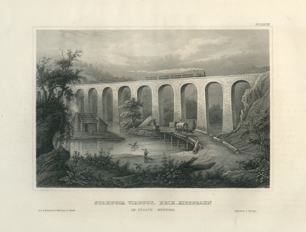 Antique Engraving - Starrucca Viaduct, Erie Railway, New York (1852)