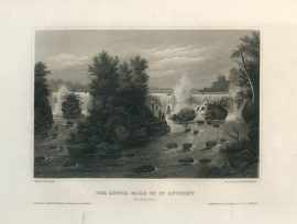 Antique Engraving - The Little Falls of St. Anthony (1854)