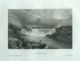 Antique Engraving - The Niagara Fall (1835)