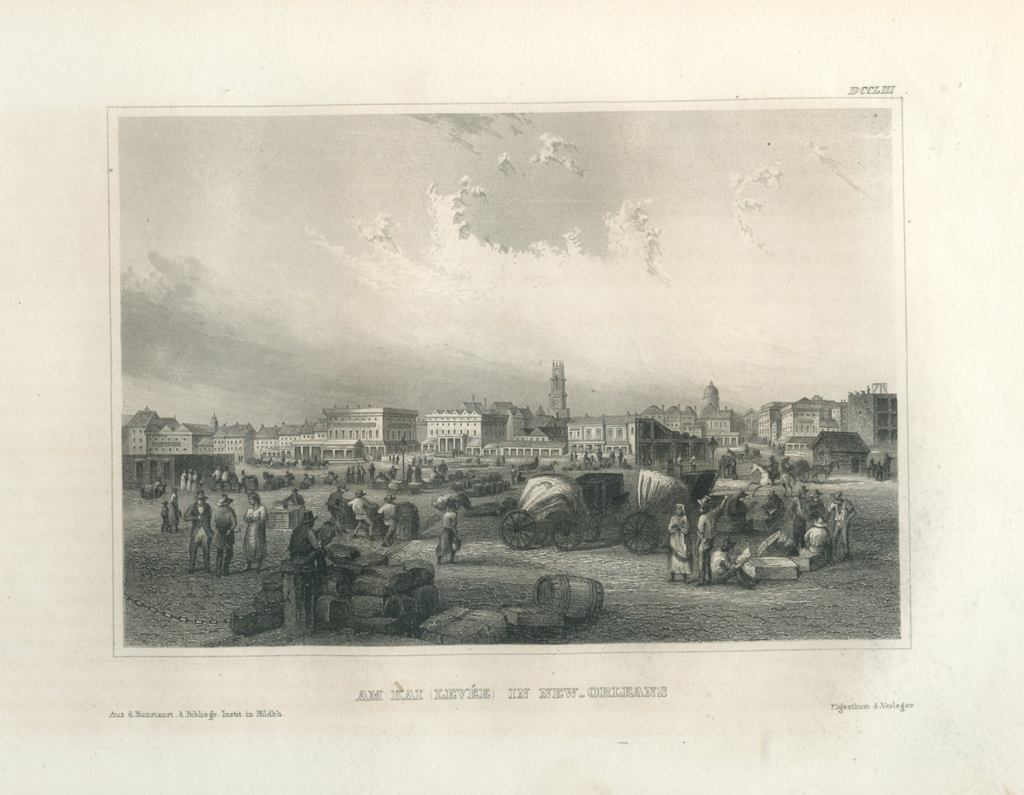 Antique Engraving - At Kai Levee, New Orleans (1854)